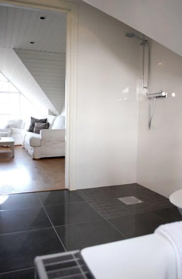Formskuren duschvägg och dörr i glas skall upp runt duschen. 9888c702c080b